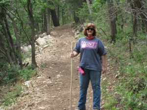 Sheryl, hiking in New Mexico.