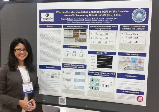 Sangjucta Barkataki (Ria) at her poster at the SABCS